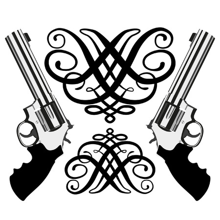 handgun: revolver magnum on white background (illustration) Illustration