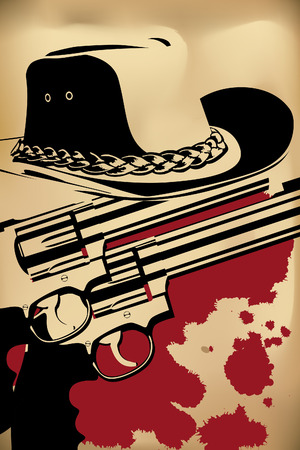sheriff badge: cowboy background (revolver and hat on brown)