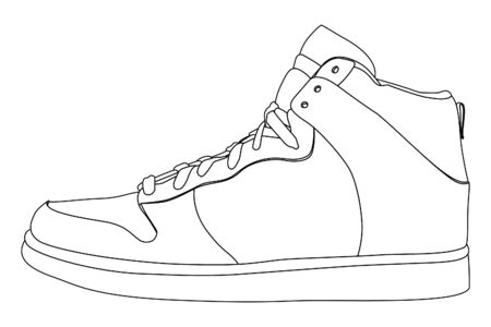 Black outlined shoes on white background