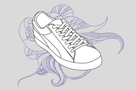 Black outlined shoes on gray background Vector
