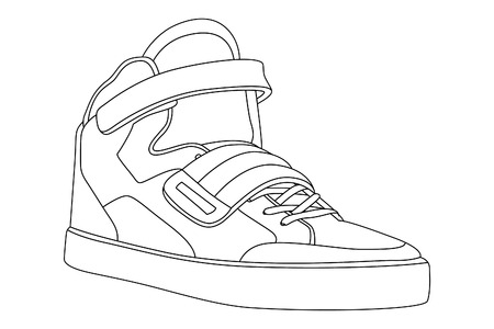Black outlined shoes on white background Vector