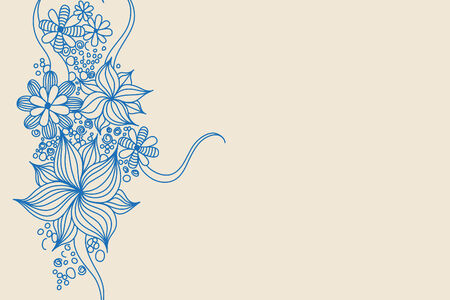 pinstripes: Blue flowers on light background (illustration)