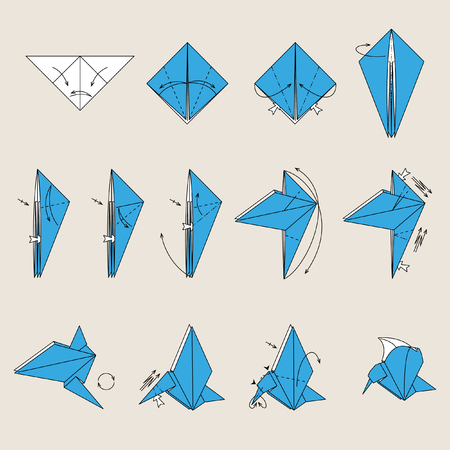 pajaro azul: Aves de origami azul sobre fondo de color marr�n claro Vectores