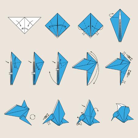 origami bird: Origami blue bird on light brown background Illustration