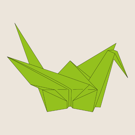 crane fly: Origami green bird on light brown background