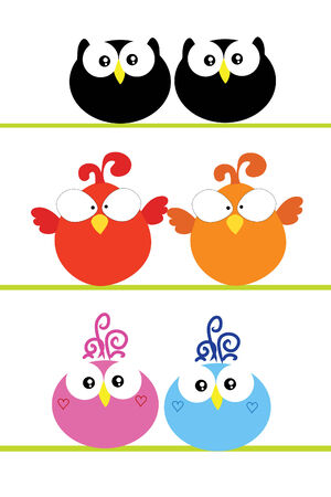 couples outdoors: three love colorful birds couple on white background