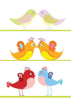 three love colorful birds couple on white background Stock Vector - 8301593