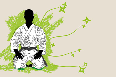 vectro Karate man on brown background (illustration)