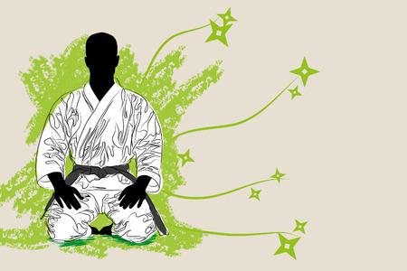 vectro Karate man on brown background (illustration)