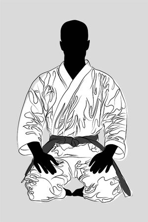 vectro Karate man on gray background (illustration) Vector
