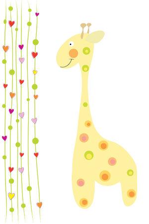 la jirafa lindo divertida y corazones sobre fondo blanco