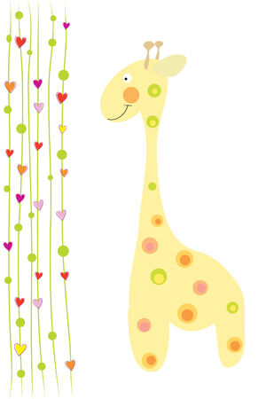 jirafa cute: la jirafa lindo divertida y corazones sobre fondo blanco
