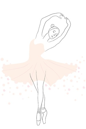 contour of beautiful flexible ballerina in tutu Stock Vector - 8301819