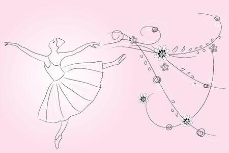 contour of beautiful flexible ballerina around flowers Stock Vector - 8301882