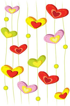 handing: many beautiful bright handing heart on white background