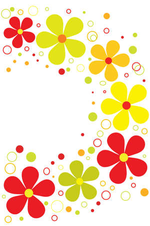 more: beautiful colorful blossom bright flowers with circles Illustration