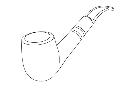 cigar smoke: vector outline tobacco pipe on white background