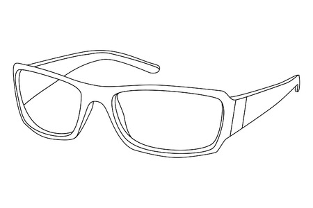 black outlined sunglasses on white background Vector