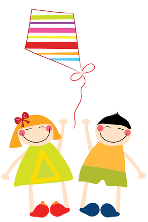 funny happy  boy and girl play with kite Vector