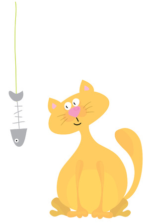 cute cat  with fish on white background Vector