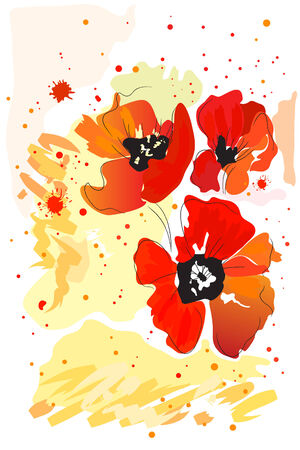 beautiful bright red watercolor blossom paint poppy Stock Vector - 8302297