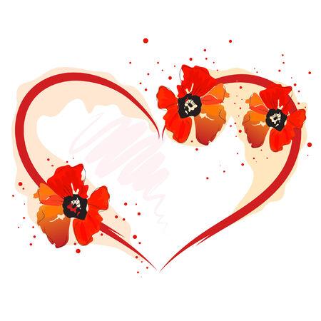 amapola: hermoso coraz�n y amapola Roja flor de acuarela Vectores