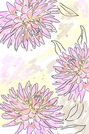 dahlia: beautiful blossom pink watercolor dahlia and splash