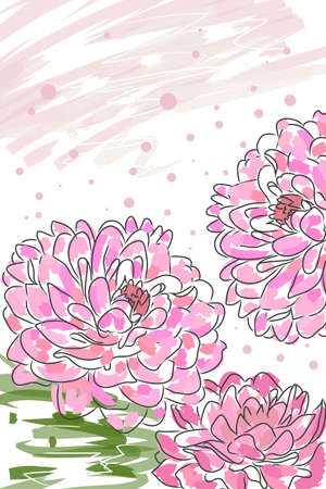 beautiful blossom pink watercolor dahlia and splash Stock Vector - 8302282