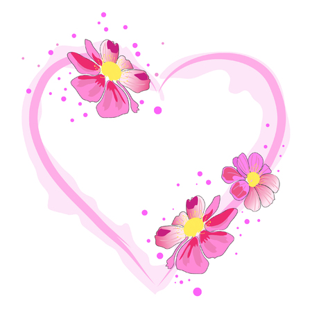 pink heart: beautiful heart and pink watercolor blossom flower