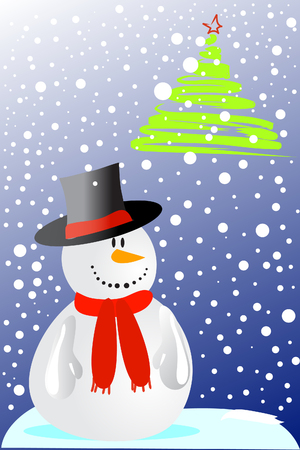 firry: cute smiling snowman in hat and fir