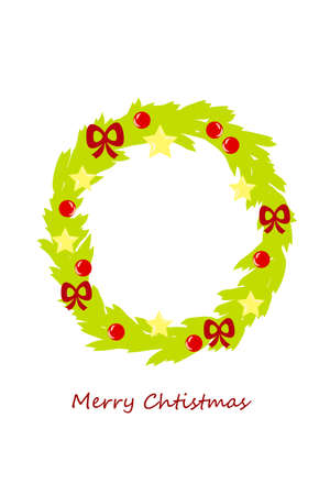 christmas wreath with star ball and bow Stock Vector - 8302185
