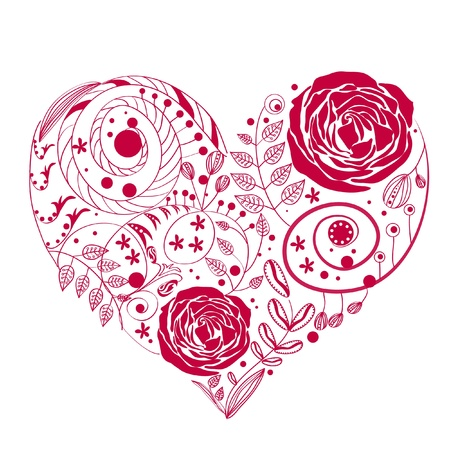 pétalas: cora��o da flor Ilustração