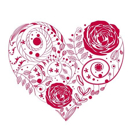 pink rose petals: flower heart Illustration