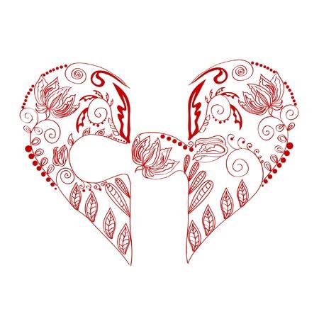 heart puzzle: flower heart Illustration