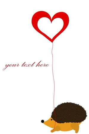love hedgehog with heart Vector