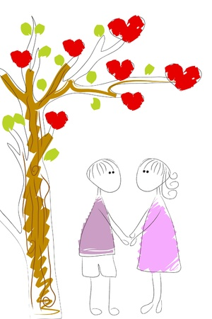 under heart: love couple under heart tree