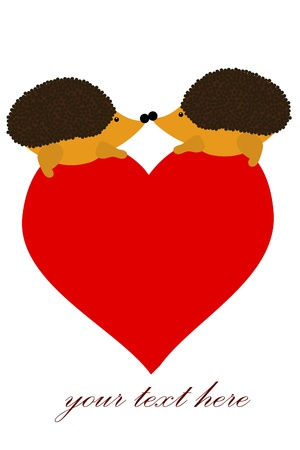 two love hedgehog with heart Vector