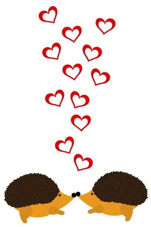 small hearts: two love hedgehog with hearts Illustration