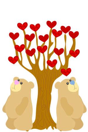 under heart: two love bear under heart tree Illustration