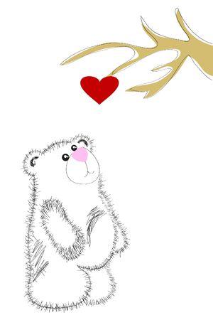 white bear under heart tree Vector