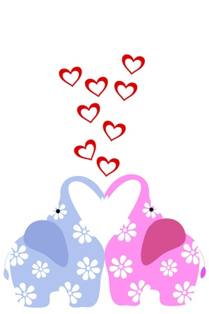two elephant with hearts Stock Vector - 8815590