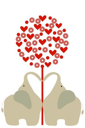 under heart: two elephant under heart tree