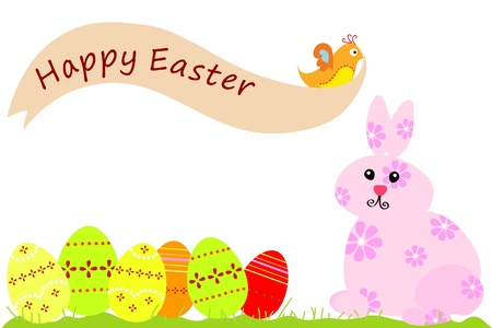 easter rabbit and easter eggs Vector