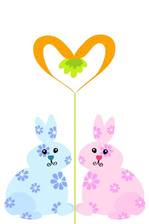 two easter rabbit and carrot heart Stock Vector - 8815650