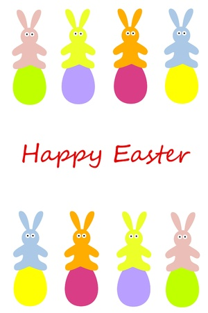 easter rabbits with easter eggs Vector