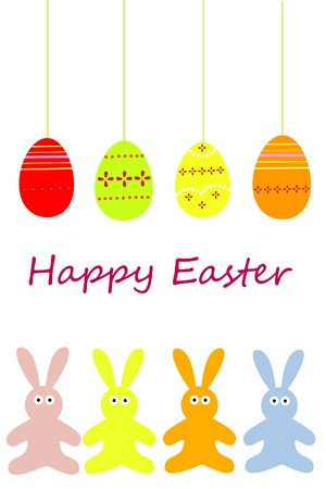 colored eggs: easter rabbits with easter eggs