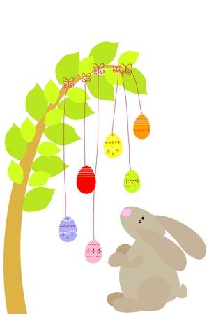 easter rabbit under easter eggs tree Vector
