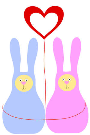 two rabbit and heart Stock Vector - 8815539