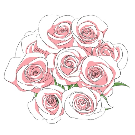 rosebud: pink roses Illustration