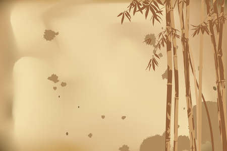 fengshui: vector illustration beautiful bamboo on brown background